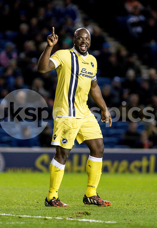 A happy Danny Shittu of Millwall during the Sky Bet Championship match between Brighton and Hove Albion and Millwall at the AMEX Stadium, Brighton, England on 12 December 2014. Photo by Liam McAvoy.