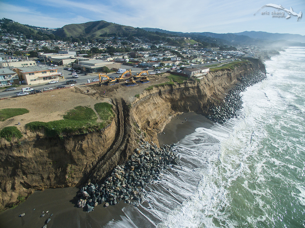 On January 25, 2016, a state of emergency was declared in Pacifica, California, after king tides and storm surge pummeled the coastline. Many of the apartments in Pacifica are hanging off of soft sandstone cliffs and are in danger of falling off.  Photo taken January 26, 2016.