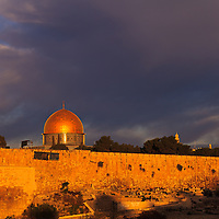 The Dome of the Rock reflects early-morning sunlight.