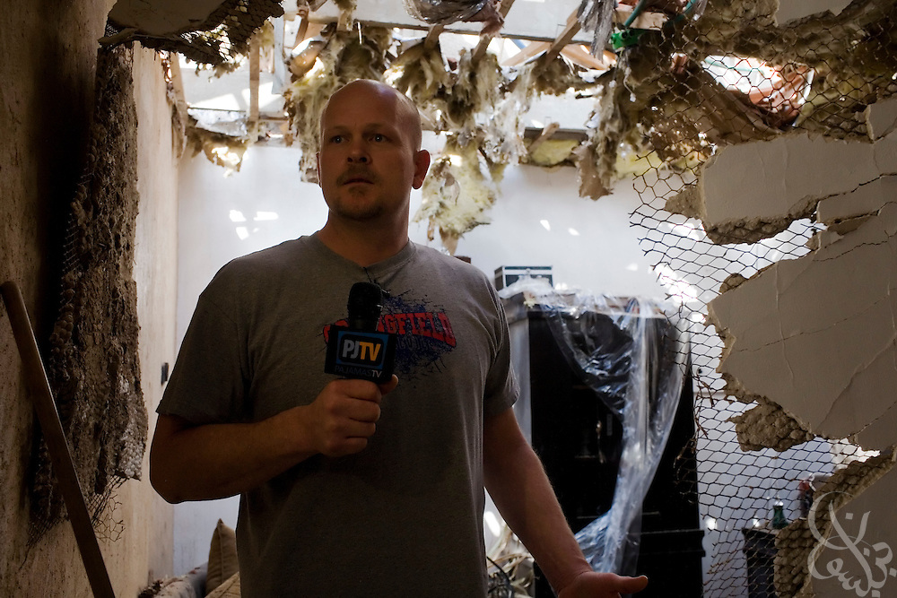 "Samuel J. Wurzelbacher, better known as ""Joe the Plumber"", works on assignment as a war correspondent reporting from the scene of house damaged recently by a Palestinian rocket attack January 11, 2009 in Sderot, Israel. Wurzelbacher, who rose to fame during the 2008 election after questioning then presidential candidate Barack Obama about his tax plan, is in the region for about 10 days  to report for the conservative web site Pajamas TV (www.pjtv.com.)"