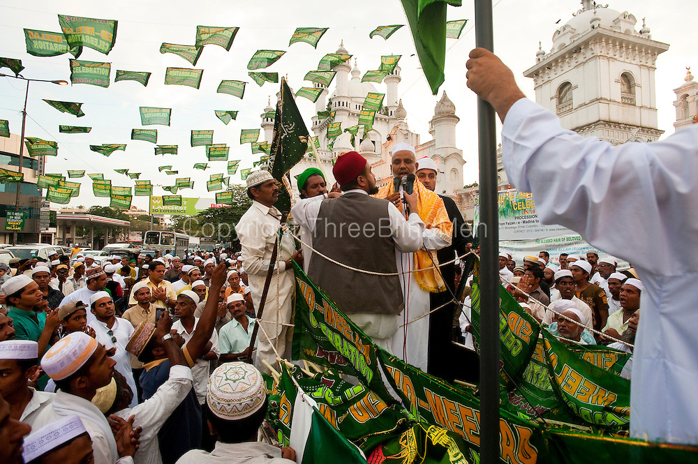 Celebrating Milad-un-Nabi at the Dewatagaha Mosque in Colombo.