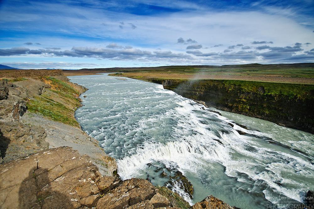 The Hvítá River cascades over Gullfoss waterfall in Iceland.