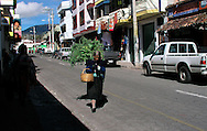 A street scene near the Plaza de Ponchos  Market, Otavalo, Ecuador.