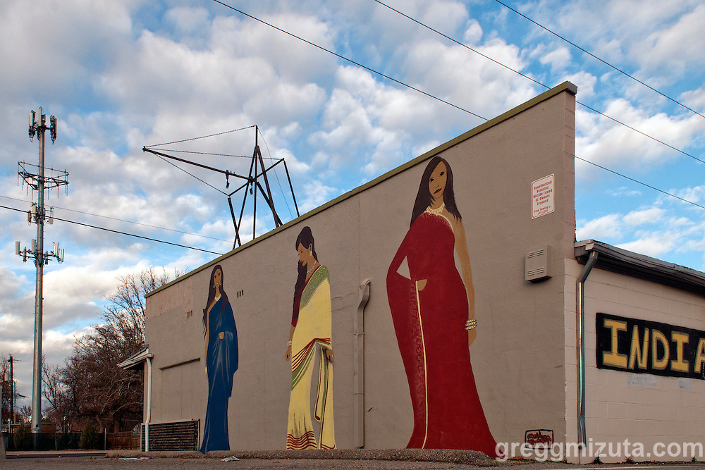 Boise artist Alex Vega's mural for India Fashion & Grocery,  3715 W Overland Road, Boise, Idaho. December 6, 2015.