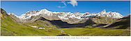 Composite panorama of Independence Mine and Hatcher Pass in Southcentral Alaska. Summer. Afternoon.
