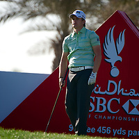 19.01.2013 Abu Dhabi, United Arab Emirates.  Tom Lewis in action during the European Tour HSBC Golf championship  third round from the Abu Dhabi Golf Club.