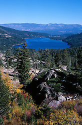 &quot;Donner Lake in Autumn&quot;- Photographed facing east from Donner Summit near China Wall. The town of Truckee, CA can be seen at the far end of Donner Lake.<br />