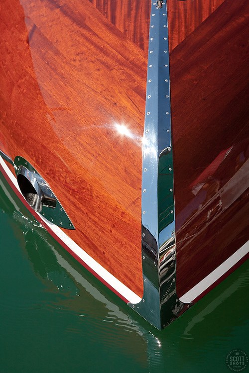 """Wooden Boat on Lake Tahoe 1"" - This abstract photo of a classic wood boat was taken at the 2011 Tahoe Concours d'Elegance."