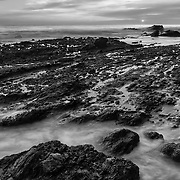 Victoria Beach Tide Pools - Sunset - Laguna Beach CA - Black & White