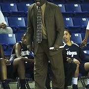 Georgetown Head Coach Keith Brown yells out instruction to his lady Hoyes during a Quarterfinals Women's National Invitation Tournament Preseason game against Delaware Sunday, Nov. 11, 2012 at the Bob Carpenter Center in Newark Delaware.