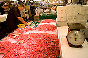 Shrimps in the market. Tsukiji fish market  is the biggest wholesale fish and seafood market in the world and also one of the largest wholesale food markets of any kind. The market is located in Tsukiji in central Tokyo, and is a major attraction for foreign visitors.