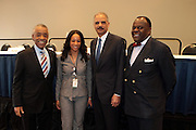 Washington, DC-April 11:  (L-R) Rev. Al Sharpton, Janeye Ingram, Washington, D.C.Bureau Chief, NAN, Attorney General of the United States Eric Holder and Rev. Dr. W. Frankyln Richardson attends the 14th Annual National Convention Special Plenary Presentation 1 with Attorney General of the United States Eric Holder held at the Walter E. Washington Convention on April 11, 2012 in Washington, DC . Photo by Terrence Jennings