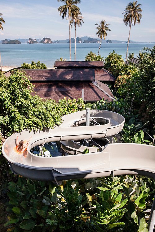 Water slide overlooking Phang Nga Bay. Ani Villas, Koh Yao Noi