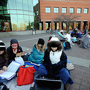Students wait in line near tent city for the basketball game vs. New Mexico State. (Photo by Gonzaga University.)