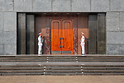 Entrance to Ho Chi Minh Mausoleum with guard of honor , Ba Dinh Square Hanoi, Vietnam