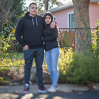 """We've been going together two years...we have three baby turtles and we each have a tank.  We switch off watching them every other week.""  -Sophomore high school student Jonathan Munguia with his girlfriend, Lupita Perez, on their way home on a cool afternoon in Calistoga."
