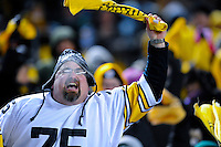 PITTSBURGH, PA - JANUARY 23: Fans of the Pittsburgh Steelers wave the their terrible towels during the game between the Pittsburgh Steelers and the New York Jets in the AFC Championship Playoff Game at Heinz Field on January 23, 2011 in Pittsburgh, Pennsylvania(Photo by: Rob Tringali) *** Local Caption ***