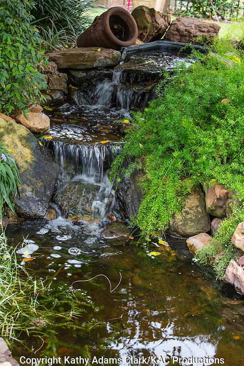 Water fountain, water cascade, asparagus fern, Garden, Houston, late summer, Texas.