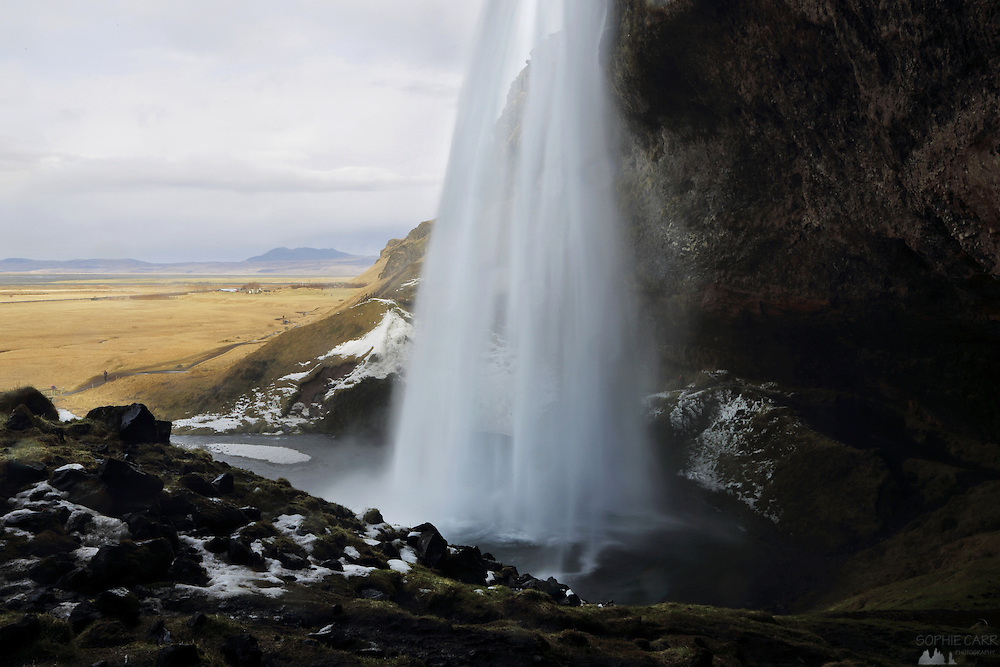 The view behind Seljalandfoss in Southern Iceland