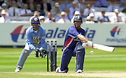 .13/07/2002.Sport - Cricket -NatWest Series Final- Lords.England vs India. Nasser Hussian playing the reversae sweep stroke..