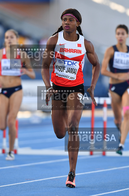 BYDGOSZCZ, POLAND - JULY 21: Aminat Yusuf Jamal of Bahrain in the semi final of the women's 400m hurdles during the evening session on day 3 of the IAAF World Junior Championships at Zawisza Stadium on July 21, 2016 in Bydgoszcz, Poland. (Photo by Roger Sedres/Gallo Images)