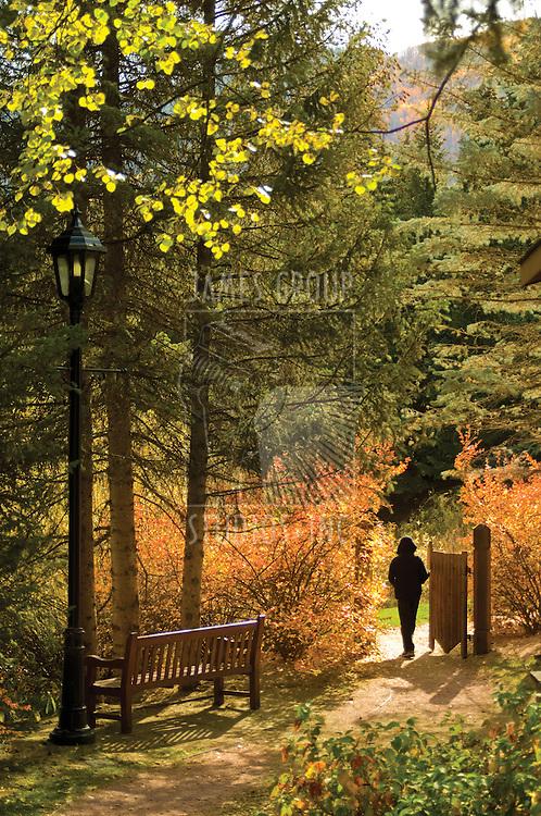 Fall scenic with a boy passing through a garden gate