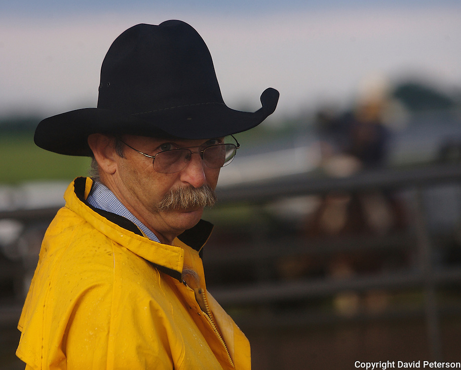 Kenny Waterhouse peers over his glasses as cattle are led into a corral at the Bar B ranch near Albia, Iowa.  Waterhouse and a dozen other local cowboys were assisting in a bi-annual roundup where calves were roped and seperated from the herd for vaccinations, branding and the placement of growth stimulant implants.  The male calves were also castrated.  Owner Catherine Bay runs the operation with a herd of over 2,000 cattle.