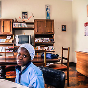 """One of the orphans of the """"abrigo"""" house of the FMA in Namaacha, near the border with Swaziland. This girl is recovering from a heart surgery she had just few days ago"""