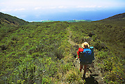 350803-1011 ~ Copyright: George H. H. Huey ~ Along the Kaupo Trail, deep in the Haleakala Wilderness Area, with the Pacific Ocean in the distance.  Haleakala National Park, Hawaii