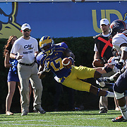 Delaware Wide receiver Michael Johnson (17) dives out of bounds at the bucknell 2 yd line during a Week 3 NCAA football game against Bucknell University...#13 Delaware defeated The Bison of Bucknell 19 - 3 at Delaware Stadium Saturday Sept. 15, 2012 in Newark Delaware.