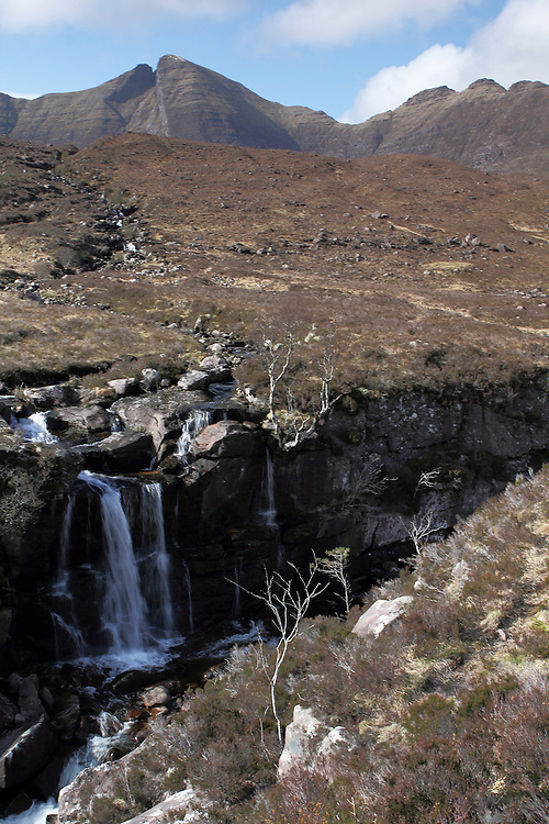 View of a small waterfall, coming down from Beinn Alligin, back towards Torridon, in the north-west Highlands of Scotland. The Black Notch is clearly visible.