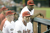 27 June 2011: Manager Krik Gibson, Coach Alan Trammell and Coach Don Baylor together in the dugout during a Major League Baseball game MLB Cleveland Indians defeated the Arizona Diamondbacks 5-4 inside Chase Field in Phoenix, AZ.  **Editorial Use Only**