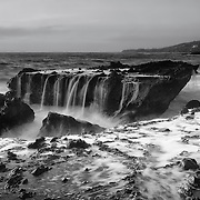 Victoria Beach Rock Shelf Waterfall - Dusk - Black & White