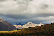 Afternoon sun illuminates the autumn tundra colors, storm clouds, and the Clearwater Mountains at Windy Creek along the Denali Highway in Southcentral Alaska.