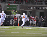 Texas' Steve Edmond (33) scores on an interception return vs. Ole Miss at Vaught-Hemingway Stadium in Oxford, Miss. on Saturday, September 15, 2012. Texas won 66-21. Ole Miss falls to 2-1.