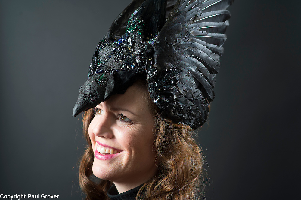 Mar0073603.DT news. Milliner Natalie Ellner pictured in her studio wearing one of her creations The Raven a headpiece one 1 of 11 that she is providing to dress each set of guests with spectacular animal masks and headgear at the Animal Ball 2016 on November 22nd, the world's greatest fashion houses will collaborate to dress a bestiary of beautiful creatures from all corners of British society to celebrate and protect nature's greatest masterpieces