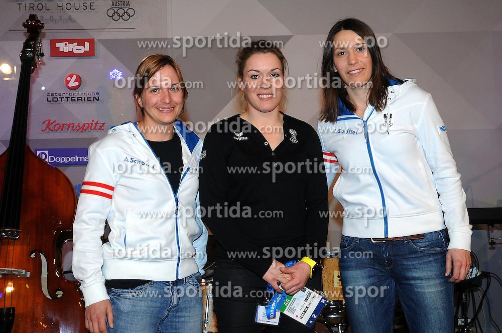 13.02.2014, Austria Tirol House, Krasnaya Polyana, RUS, Sochi, 2014, im Bild SKI CROSS TEAM DAMEN<br /> STAUDINGER LIMBACHER OFNER // SKI CROSS TEAM DAMEN<br /> STAUDINGER LIMBACHER OFNER during the Olympic Winter Games Sochi 2014 at the Austria Tirol House in Krasnaya Polyana, Russia on 2014/02/14. EXPA Pictures &copy; 2014, PhotoCredit: EXPA/ Erich Spiess