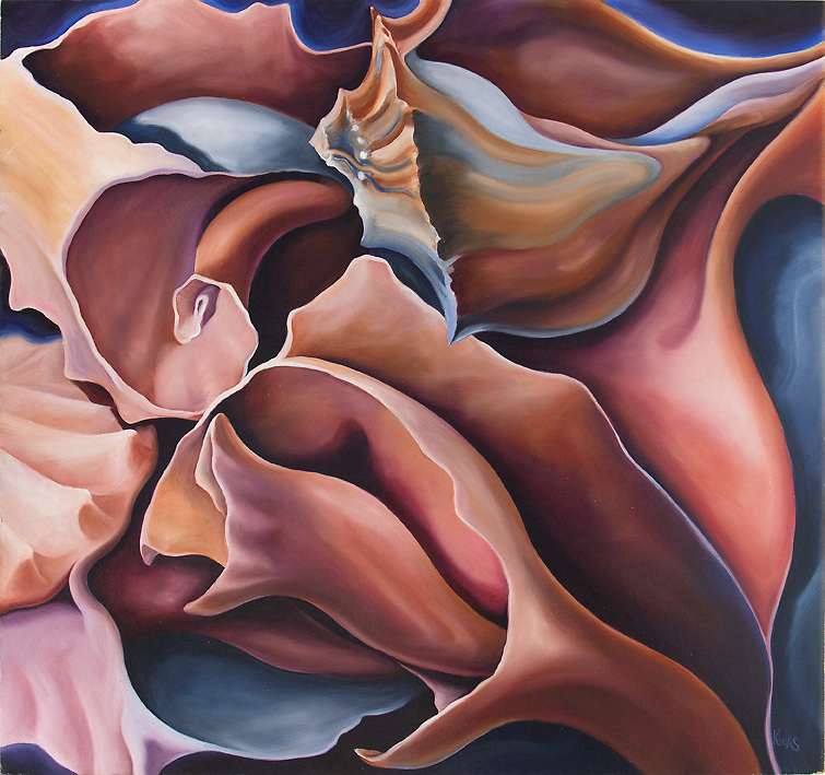 Several broken conch shells flow together and lead your eye on a tour through a voluptuous riot of color and form.<br />