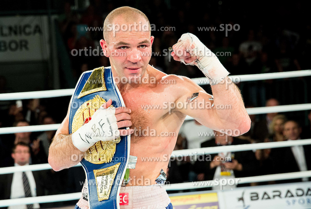 Winner Dejan Zavec alias Jan Zaveck of Slovenia celebrates after fight against  Sasha Yengoyan  of Belgium for World WBF Champion during First Class Boxing event, on April 11, 2015 in Arena Tabor, Maribor, Slovenia. Photo by Vid Ponikvar / Sportida