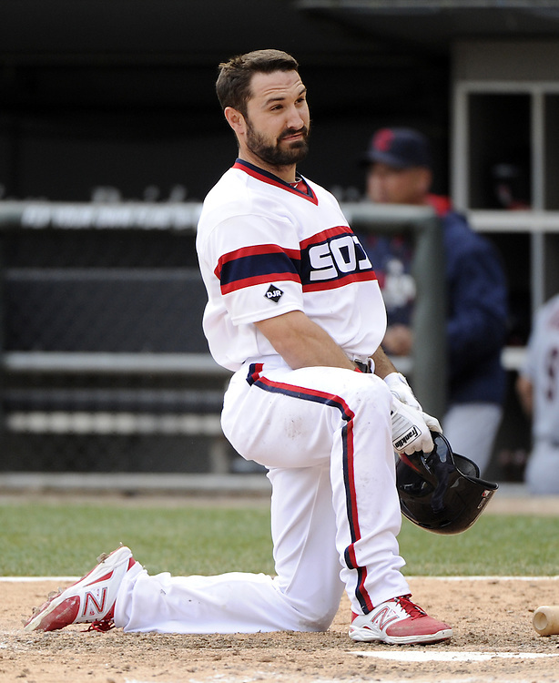 CHICAGO - APRIL 12:  Adam Eaton #1 of the Chicago White Sox reacts after making an out against the Cleveland Indians on April 12, 2014 at U.S. Cellular Field in Chicago, Illinois.  The Indians defeated the White Sox 12-6 .  (Photo by Ron Vesely)   Subject:   Adam Eaton