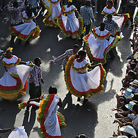African-Colombian dancers at the Silleteros Parade at the Medellin flower festival
