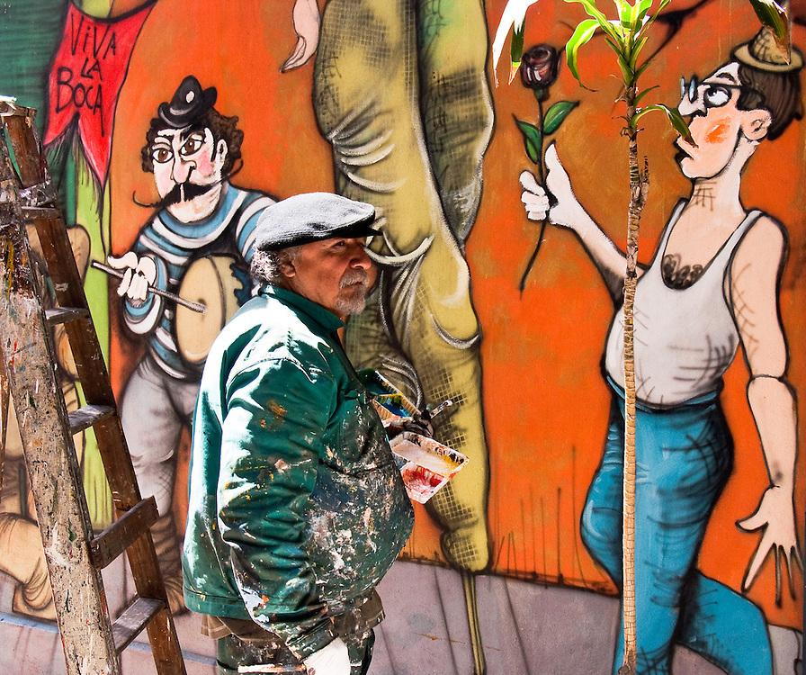Painter's art in La Boca, Buenos Aires, Argentina.
