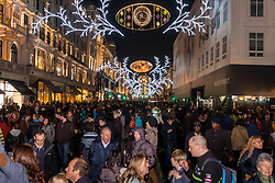 London, November 29th 2014. Tens of thousands of shoppers flood central London as  Black Friday discounts and most people's pay days kick off the Christmas shopping season in earnest. PICTURED:  With Regent Street closed to traffic following roadworks, shoppers flood the road.