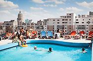 Tourists at swiming pool in Hotel, Havana- Cuba