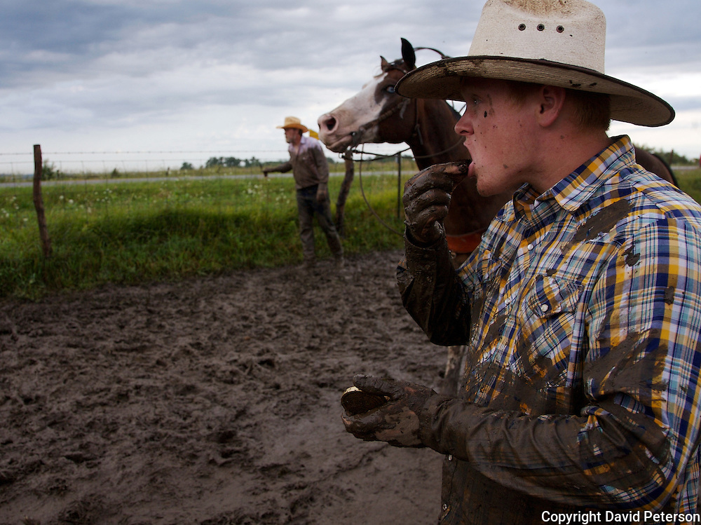 Nineteen-year-old Patrick Stark takes a chaw of tobacco during a muddy cattle roundup at the Bar B ranch near Albia, Iowa. Calves were roped and seperated from the herd for vaccinations, branding and the placement of growth stimulant implants.  Male calves were also castrated.   A morning shower had turned the ground into a slippery quagmire, making the task more difficult.   Owner Catherine Bay runs the operation with a herd of over 2,000 cattle.