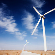 Gansu, China - 26 Feb 2010. Zhong Guanghe Wind Farm, Gansu province, China. China has set a target for renewable energy consumption of 40 percent of the market by the year 2050.