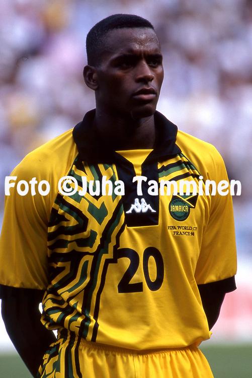 FIFA World Cup - France 1998<br /> 21.6.1998, Parque des Princes, Paris, France.<br /> Group H, Argentina v Jamaica.<br /> Darryl Powell - Jamaica