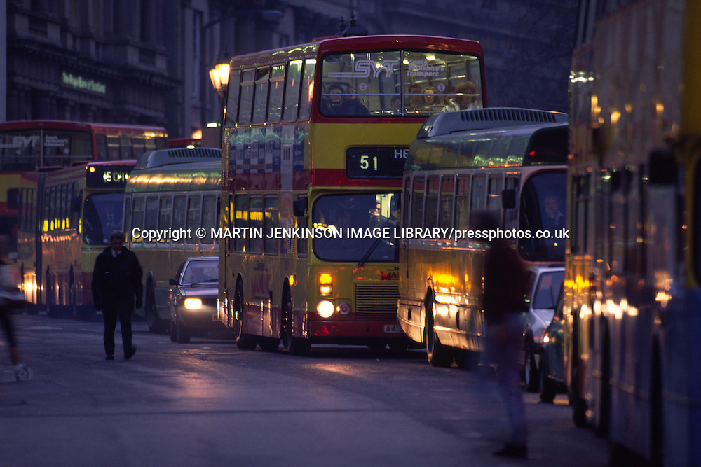 After deregulation competing bus companies add to rush hour traffic congestion as they fight for fewer passengers....