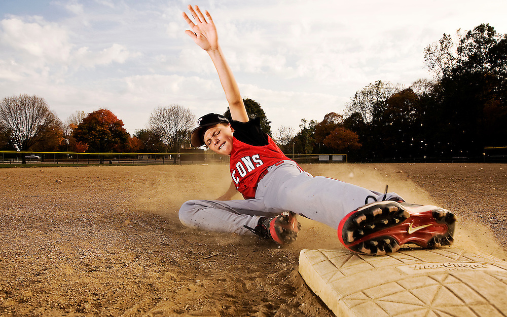 Tyler Lanning slides into third base Monday. Lanning stole 29 bases over the course of this past season with the Fairfield Union Falcons U11 baseball team to raise about $1700 for the American Glory Adaptive Sports League. (Rob Hardin / Ealge-Gazette)