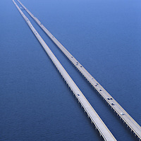 Aerial view of  Highway 10 Bridge, over Lake Pontratrain towards New Orleans, Louisiana